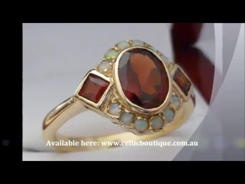 Vintage Garnet & Opal Ring - 9ct SOLID Gold Victorian Ring