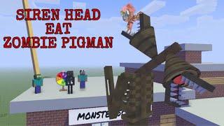 Monster School : SIREN HEAD EAT ZOMBIE PIGMAN (SPIN THE WHEEL)-MINECRAFT ANIMATION