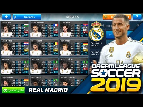 PLANTILLA DEL REAL MADRID AL 100 Y NORMAL PARA DREAM LEAGUE SOCCER 2019 EDEN HAZARD, LUKA JOVIC