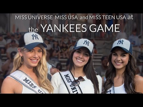Miss Universe, Miss USA, and Miss Teen USA at the Yankees Game