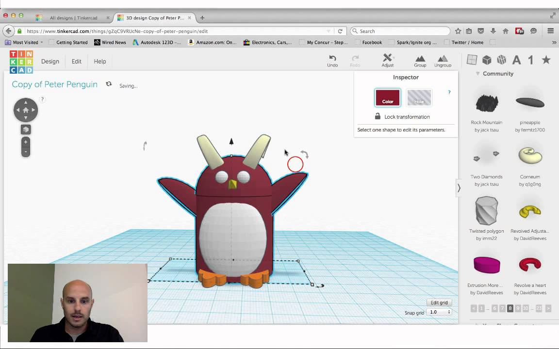 Tinkercad Session Evil Peter Penguin For 10 Commandments