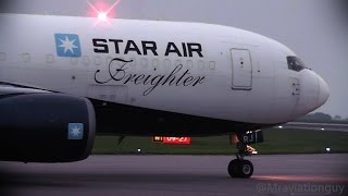 Boeing 767 Maersk Star Air - Pushback, Taxi, Fast Takeoff and Steep Climb // East Midlands Airport