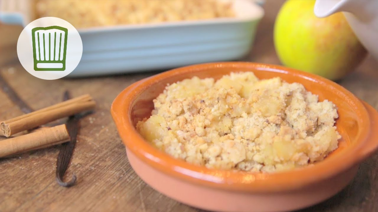 apple crumble mit vanilleso e rezept rezept ist in der beschreibung chefkoch youtube. Black Bedroom Furniture Sets. Home Design Ideas