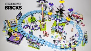 lego friends amusement park roller coaster bumper cars hot dog van space ride arcade speed build