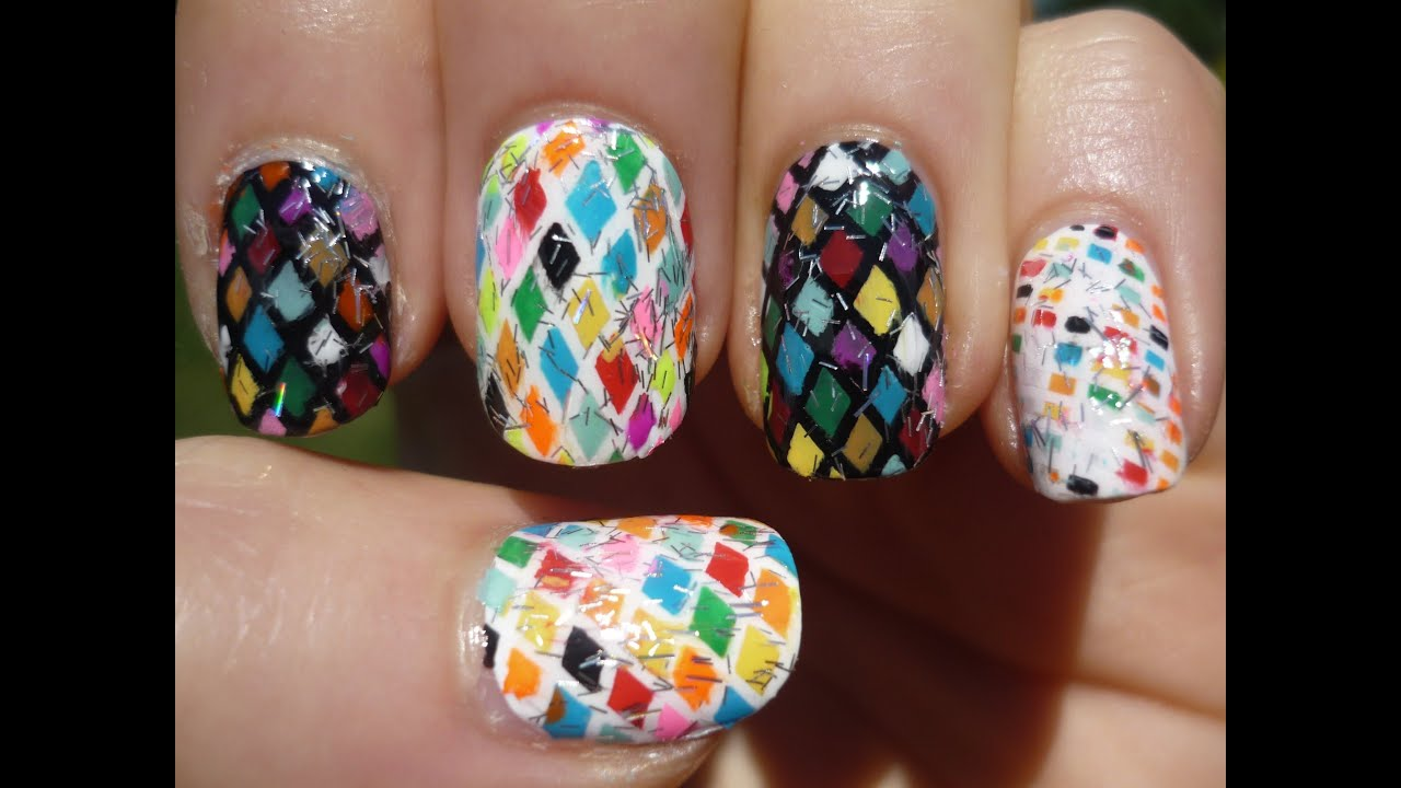 Rainbow Diamond Pattern Nail Art Tutorial - YouTube