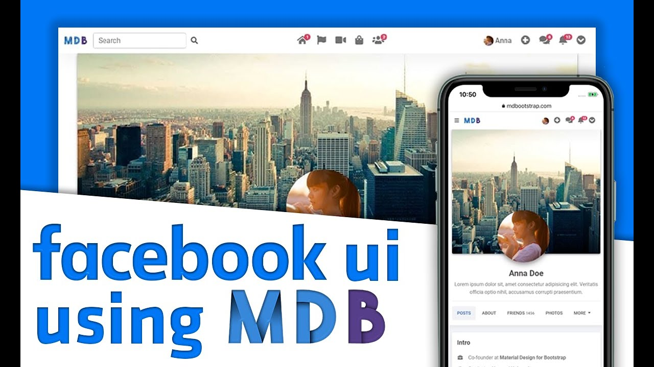 Build Facebook Profile with MDB | Bootstrap 5 & Material Design 2.0 tutorial