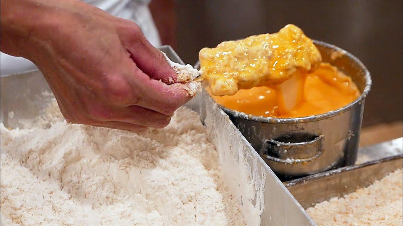 Japanese Food - CRISPY FRIED PORK CHOPS Tonkatsu Cutlets Tokyo Japan