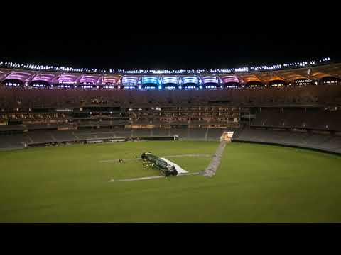 Optus Stadium Cricket Wicket Installation