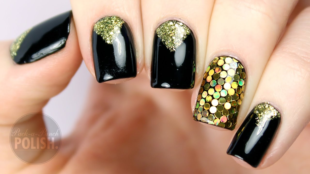 New Years Eve Glitter Placement Nail Art Tutorial | PackAPunchPolish ...