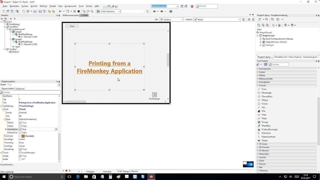 Tutorial: Printing from a FireMonkey Application (Delphi DX 10 1 Berlin  Up2) on Windows 10