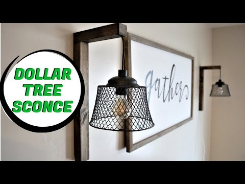 Dollar Tree DIY Farmhouse Sconce 2019 [Easy]
