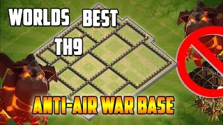 Clash Of Clans | Town Hall 9 War Base Anti Air Anti 3 Star! Defense Replay Proof 2017