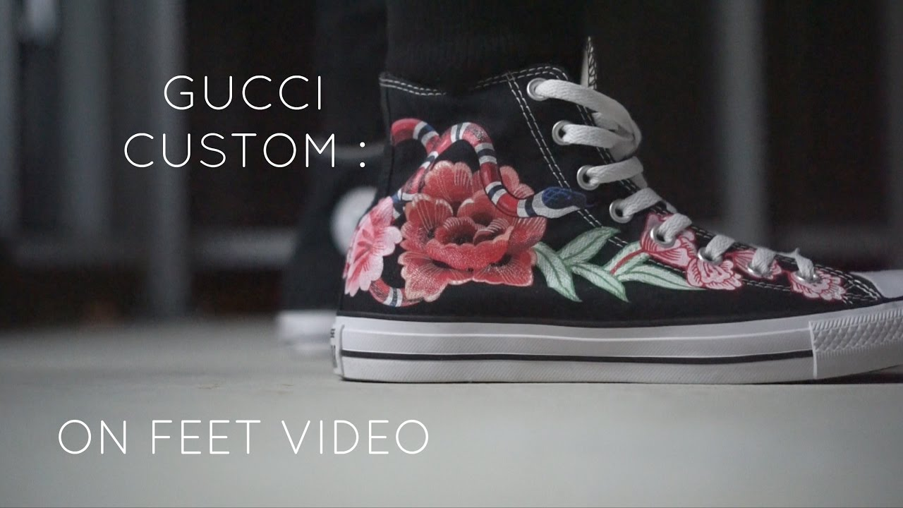 1fcb98ab8707 GUCCI CUSTOM FLOWER   SNAKE CUSTOM SNEAKER   CONVERSE - YouTube