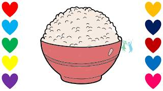 How to Draw Rice Bowl for Baby. Drawings and Coloring Book for Kids Rainbow Colors