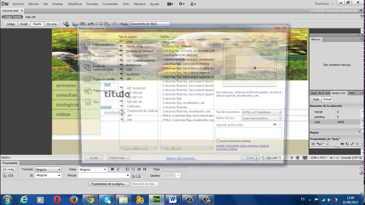como crear una pagina web en Dreamweaver cs6 con marcos - YouTube