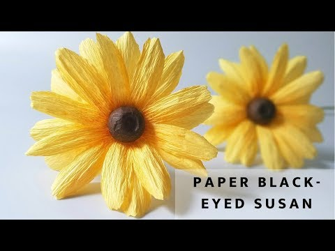 How To Make Paper Daisy Flower Black Eyed Susan Crepe Tutorial Easy You