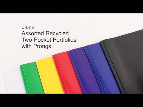 C-Line Assorted Recycled Two Pocket Portfolio with Prongs