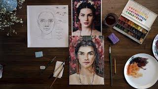 Как нарисовать портрет акварелью в анфас. Поэтапный обучающий видео урок по рисованию для начинающих