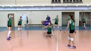 Волейбол обучение. Девушки. Защита и нападение. Тренировка. Часть 12