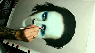 Drawing time lapse portrait using chalk pastels Marilyn Manson