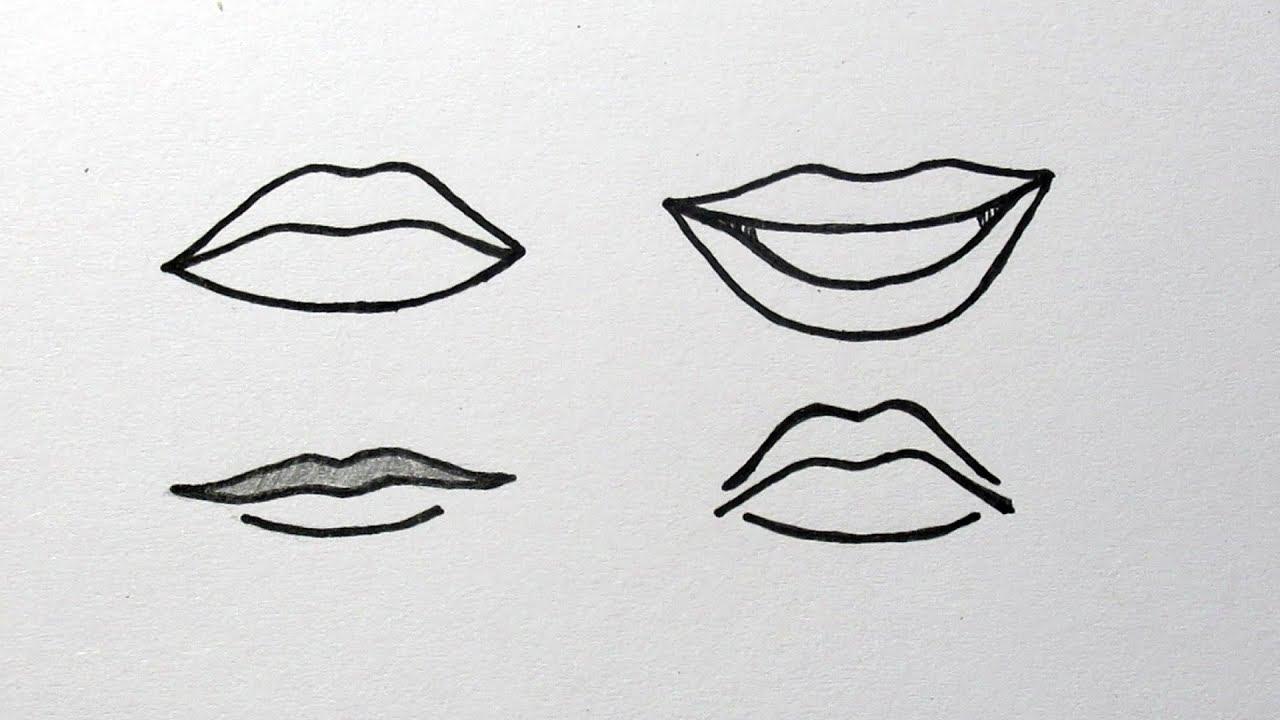 een mond leren tekenen voor beginners in stappen