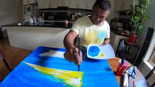 Painting a sunset in Mauritius