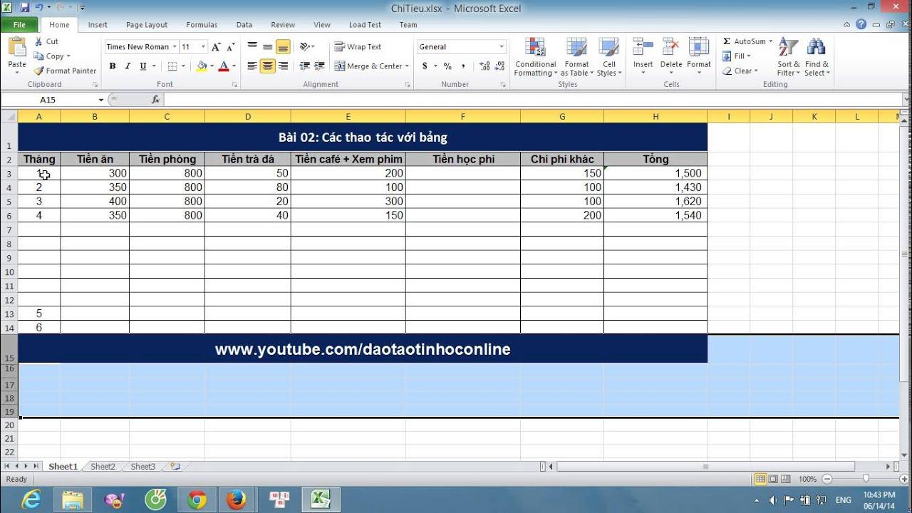 Hướng dẫn sử dụng excel cơ bản: Làm việc với bảng