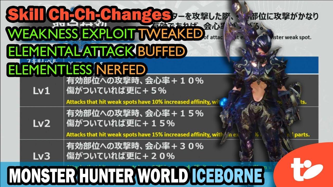 Iceborne Changes Weakness Exploit Tweaked Elemental Buffed