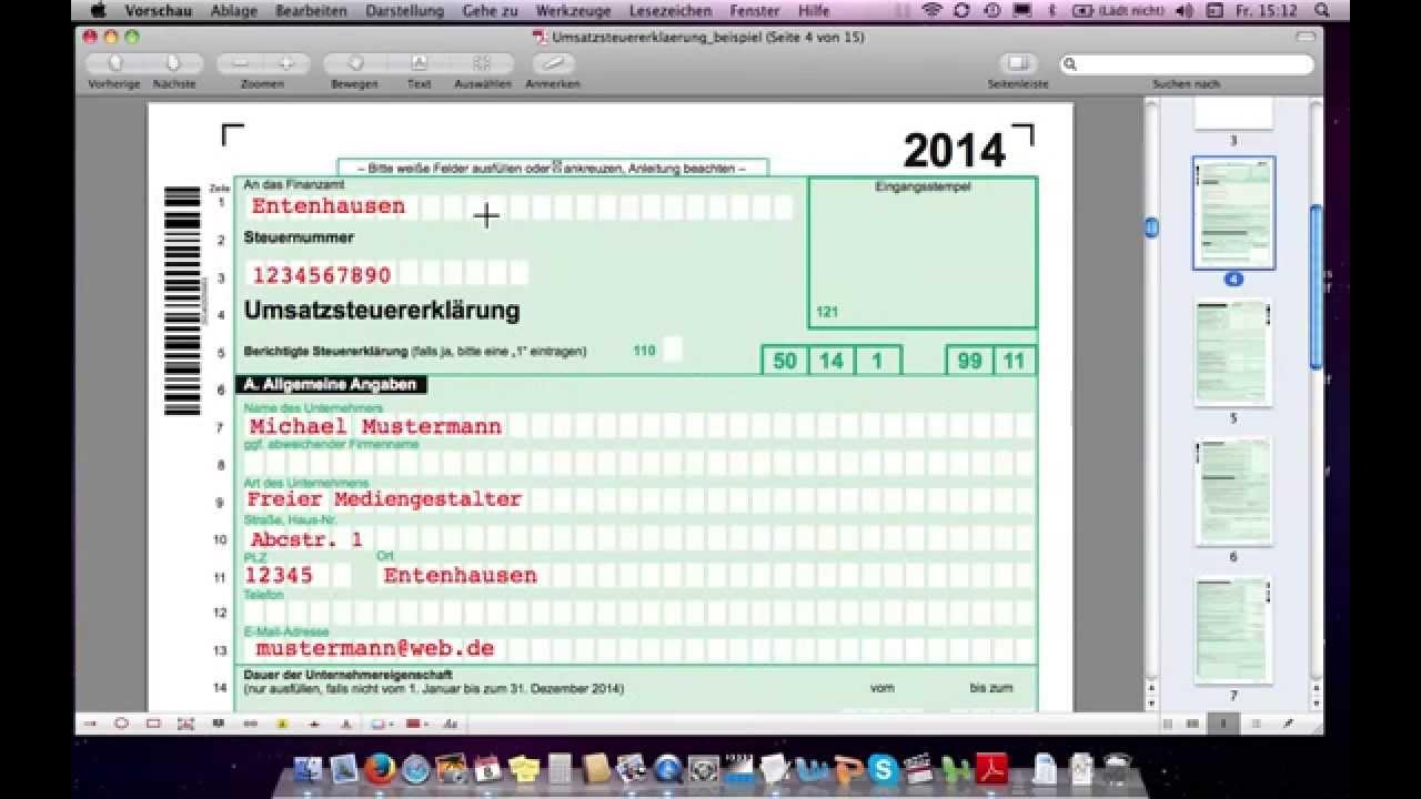 umsatzsteuererklrung ausfllen beispiel freiberufler youtube - Steuererklarung Muster