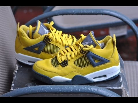 jordan 4 lightning ls review on foot youtube
