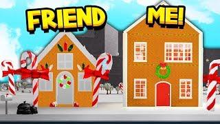BEST FRIEND Vs ME BLOXBURG GINGERBREAD HOUSE BUILD OFF CHALLENGE!! (Roblox)