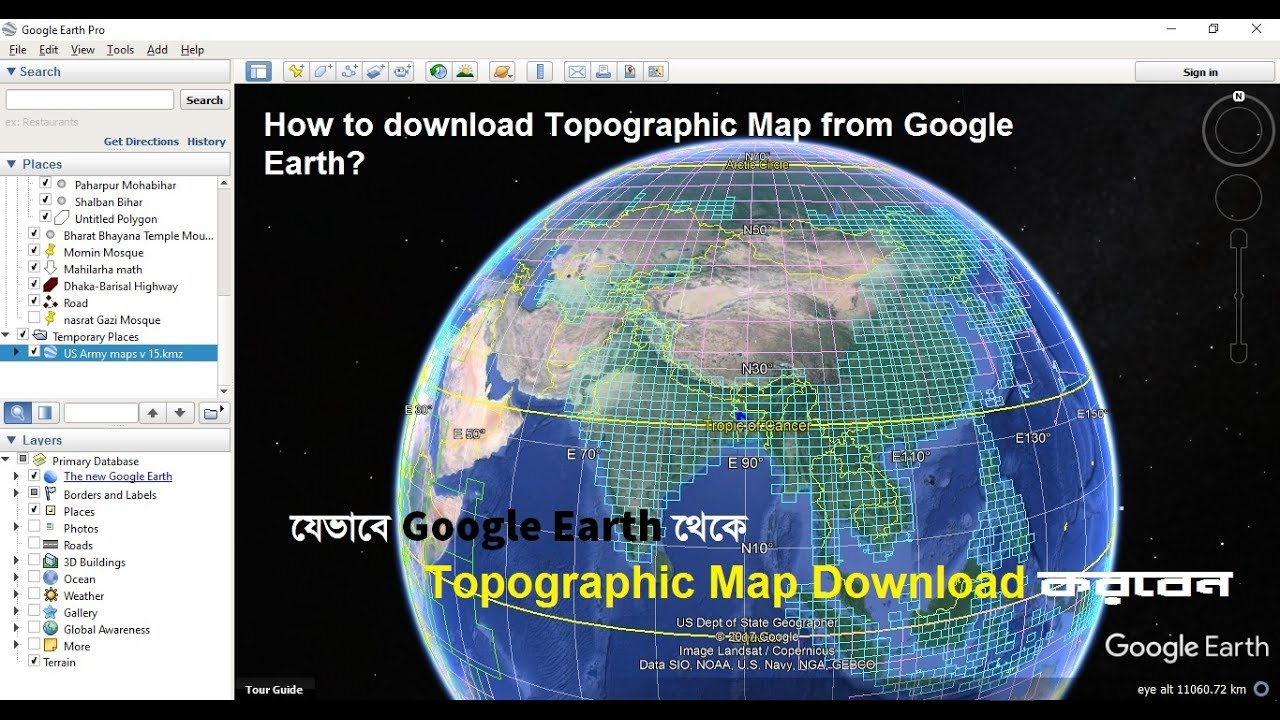 Download Topographic Maps From Google Earth YouTube - Earth topographic map