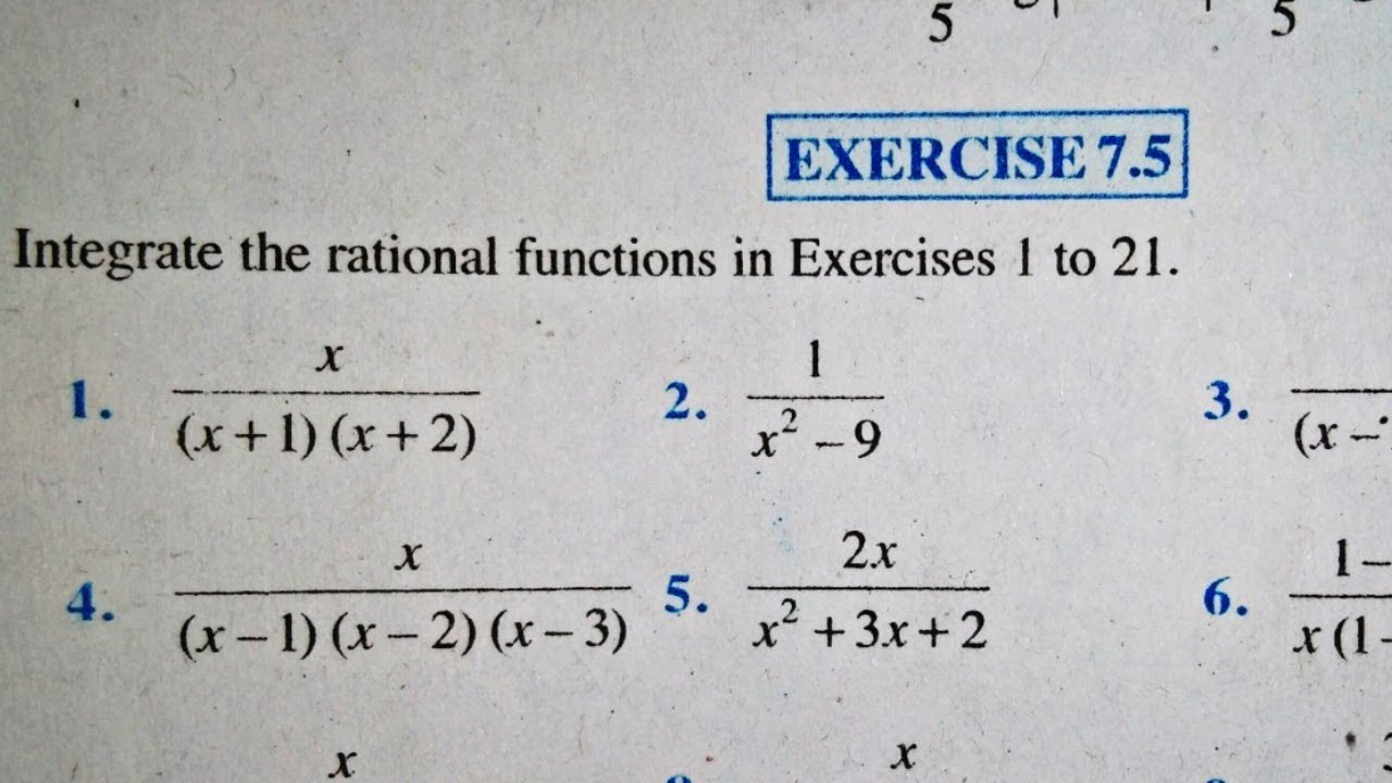 12 th (NCERT) Mathematics-INTEGRATION (CALCULUS) | EXERCISE-7.5  (Solution)|Pathshala ( hindi )