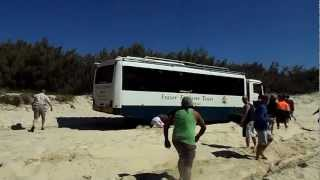 Tour bus bogged at Indian Head Fraser Island