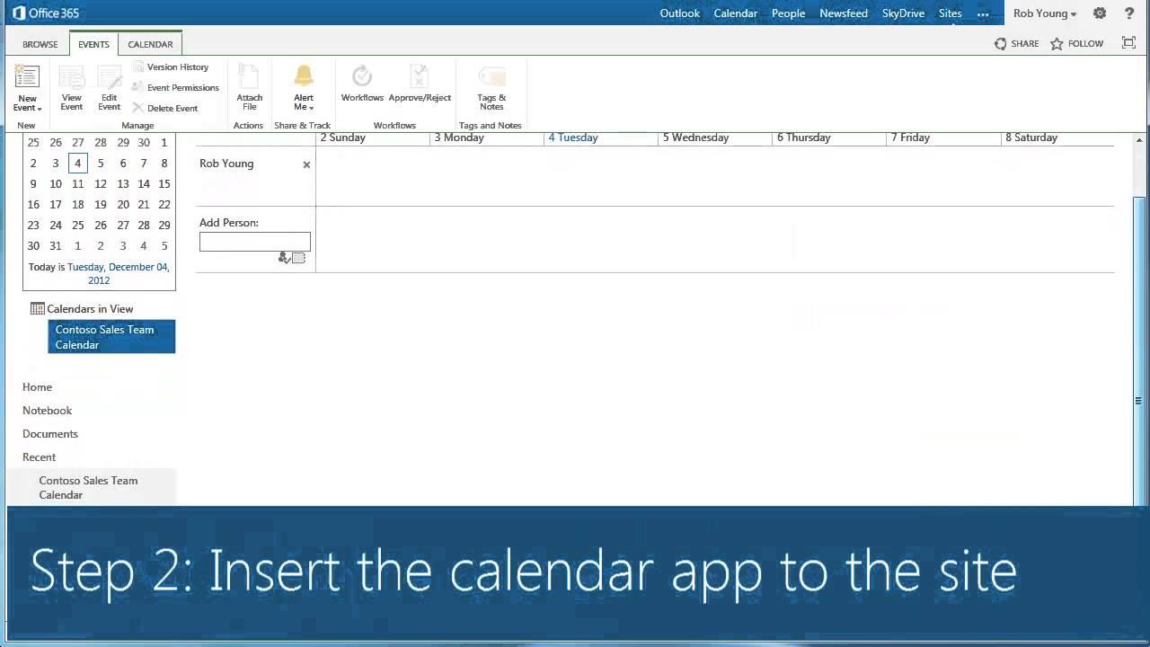 create a calendar in sharepoint 2013 epc group youtube