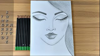 How to draw a girl with eyes closed / Pencil Sketch / Art Video
