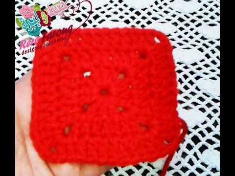 3e9817f2a53df كروشيه المربع المصمت للمبتدئين  خيط وابره   crochet a solid granny square  for beginners
