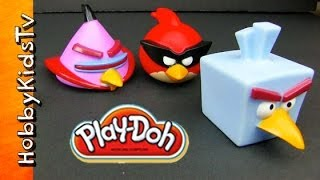 Angry Birds Space Throw PLAY-DOH Balls at Bad Pigs Eggs Stolen Story Game Play by HobbyKidsTV
