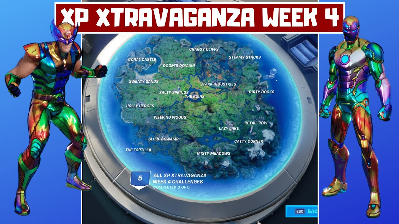 All XP Xtravaganza Week 4 Challenges Guide (300,000 XP)! - Week 14 Fortnite Chapter 2 Season 4