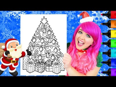 Coloring A Christmas Tree & Presents Holiday Coloring Page Prismacolor Markers | KiMMi THE CLOWN