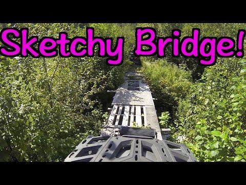 A Sketchy ATV Bridge & CK Gets Bit! -  Exploring Some New ATV Trails By Hodgins Lake - Aug. 14, 2016