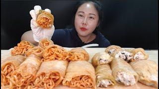 해외에서 유명한 묵은지김치불닭쌈 묵은지김치참치주먹밥쌈 먹방 Mukbang