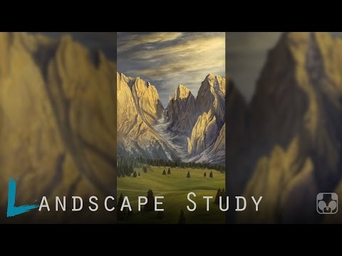 Landscape Digital Painting | Mountain Side | time lapse study