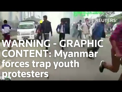 WARNING - GRAPHIC CONTENT: Protests surge in Yangon as Myanmar forces trap youth protesters