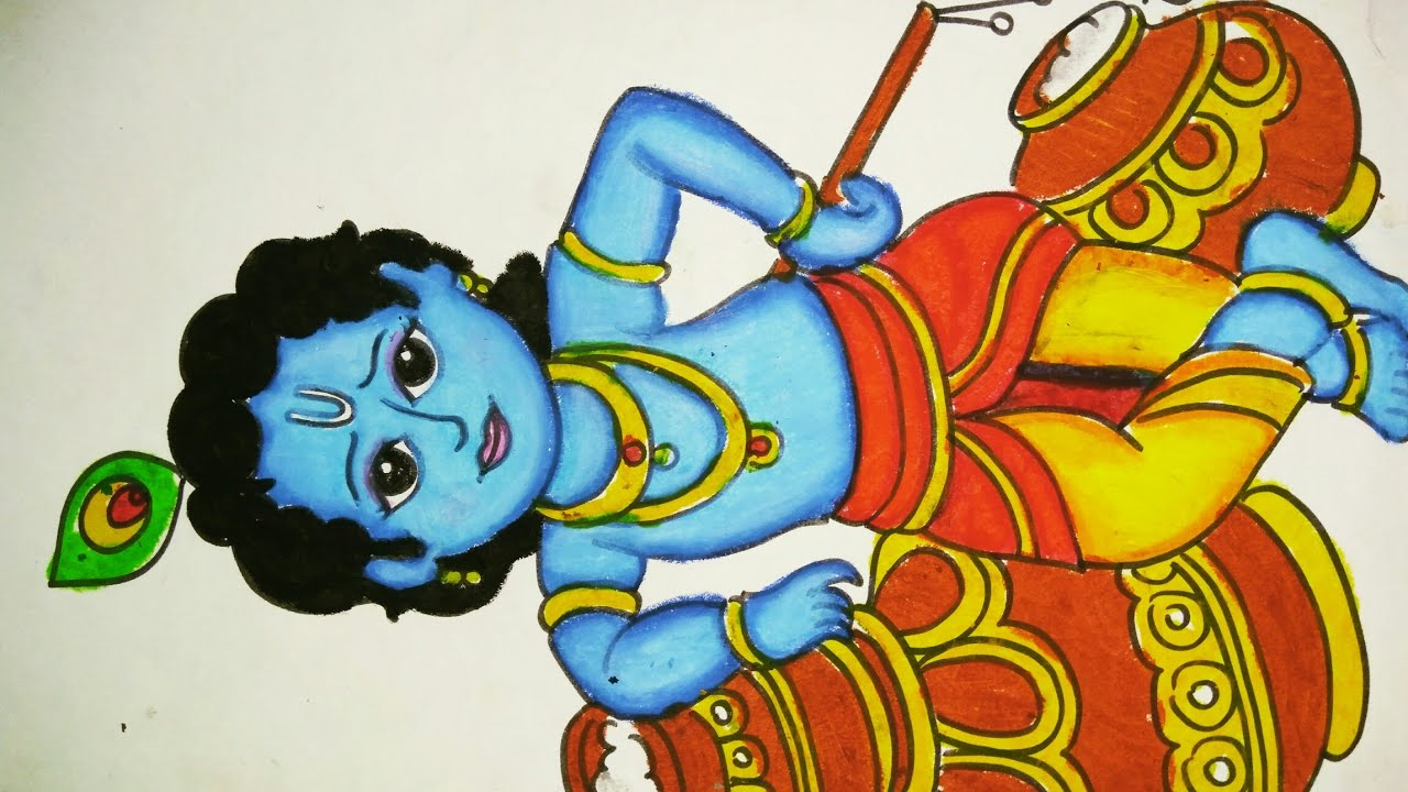 How To Draw Little Krishna Step By Step Drawing And Colouring Of Little Krishna Youtube
