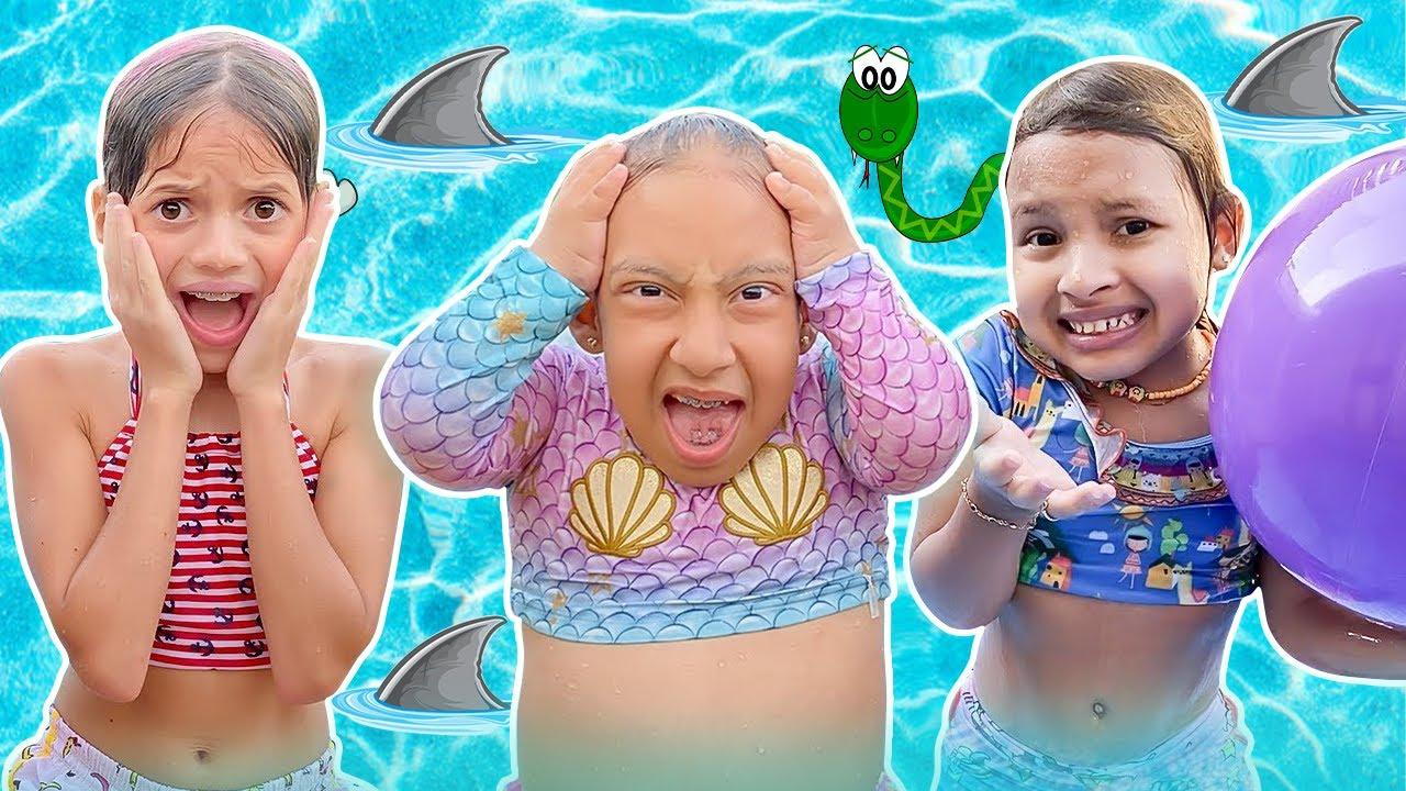 Maria Clara e suas amigas se divertem na piscina e no parquinho   Família MC Divertida