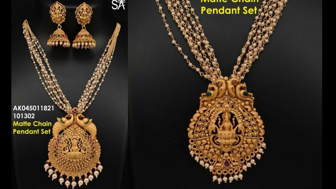 a9f48098712e8 Beautiful God and Gutta Pearls Necklace Pendants and Earrings Designs,  Necklace Jewellery Designs