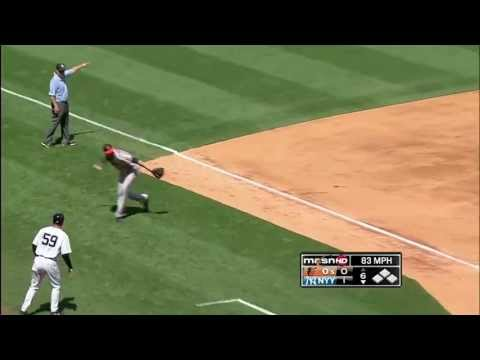 Machado makes an UNBELIEVABLE throw from foul territory