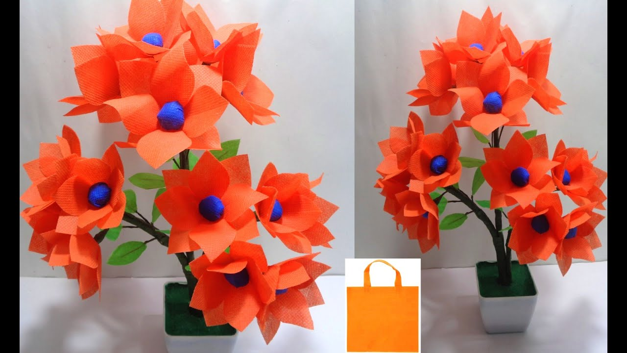 How To Make Shopping Bag Flowers Making Easy Cloth Bag Flower