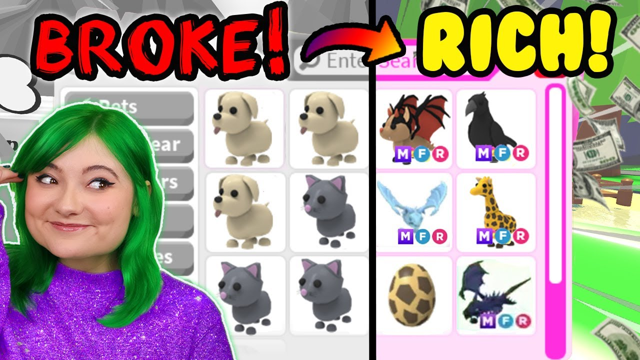 Download I WENT FROM *BROKE TO RICH* IN 24 HOURS CHALLENGE! Adopt Me Roblox *poor to rich*